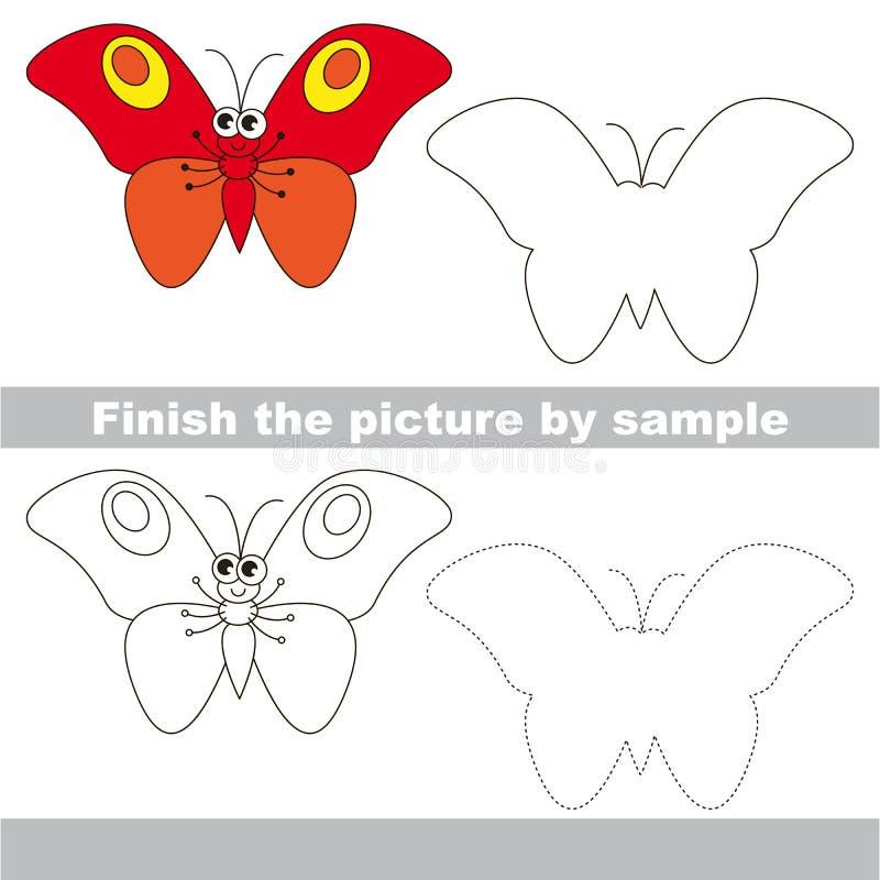 roter Schmetterling Zeichnungsarbeitsblatt stock abbildung