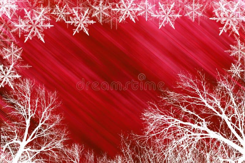 Roter schneebedeckter Hintergrund stockfoto