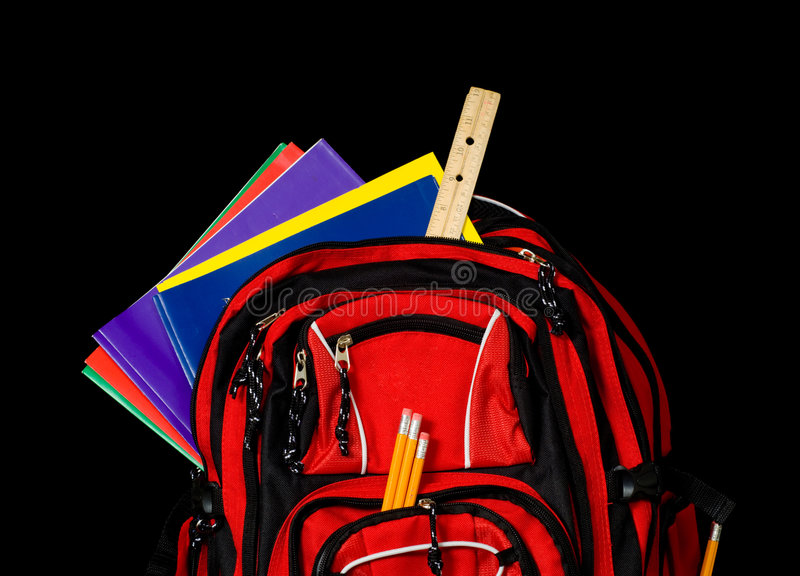 Roter Schule-Rucksack stockfotos