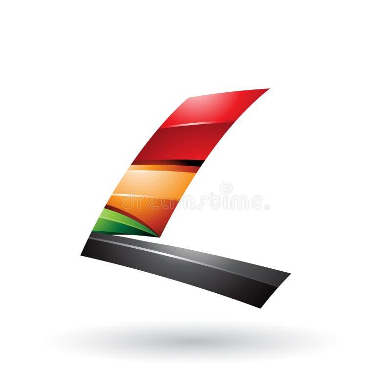 Roter schwarzer und orange dynamischer glatter fliegender Buchstabe L lokalisierte auf einem weißen Hintergrund lizenzfreie abbildung