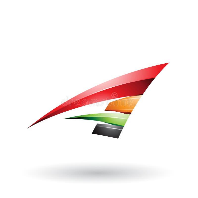 Roter schwarzer und orange dynamischer glatter fliegender Buchstabe A lokalisierte auf einem weißen Hintergrund vektor abbildung