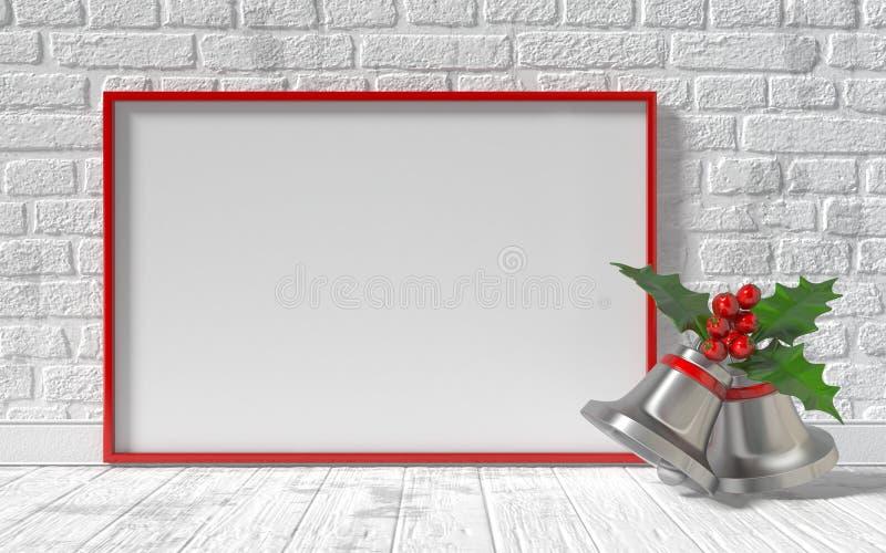Roter Segeltuchrahmen des Modells, Weihnachtsglocken und Backsteinmauer 3d lizenzfreie abbildung