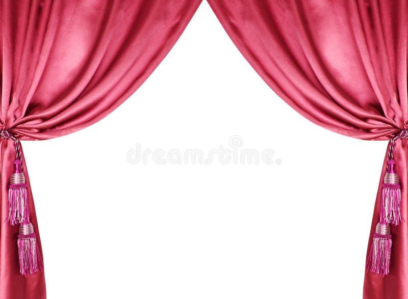 Roter silk Trennvorhang mit den Quasten getrennt auf Weiß lizenzfreie stockfotos