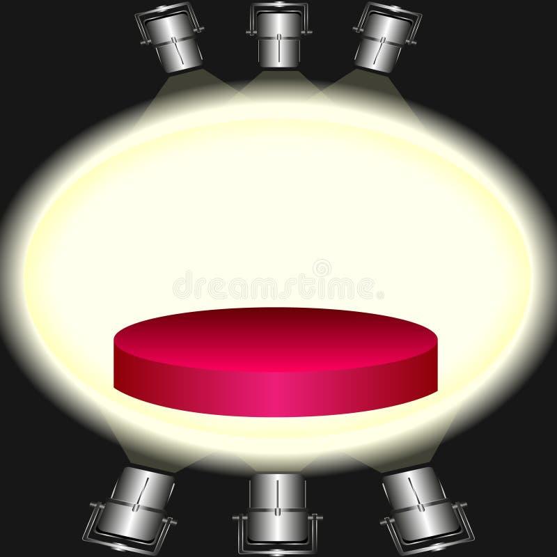 Roter Sockel belichtet durch Flutlichter vektor abbildung