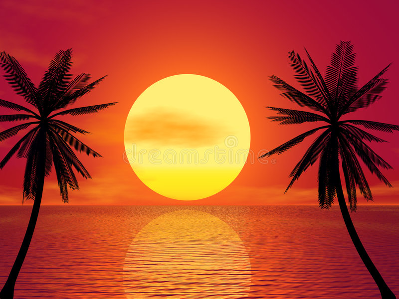 Roter Sonnenuntergang lizenzfreie abbildung
