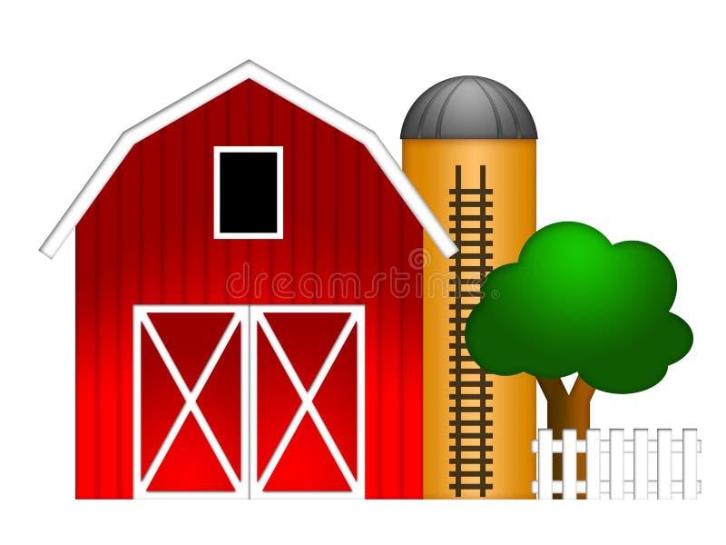 Roter Stall mit Korn-Silo-Abbildung stock abbildung