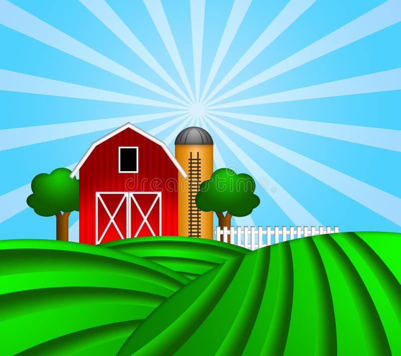 Roter Stall mit Korn-Silo auf grüner Weide stock abbildung