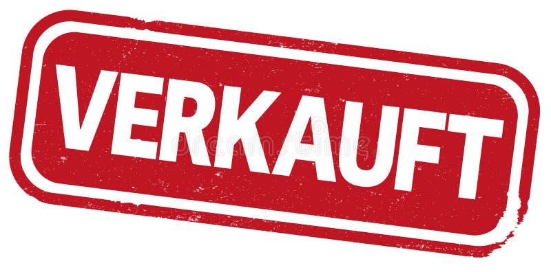 Roter Stempeldruck mit dem Wort VERKAUFT, deutsch für SOLD lizenzfreie abbildung