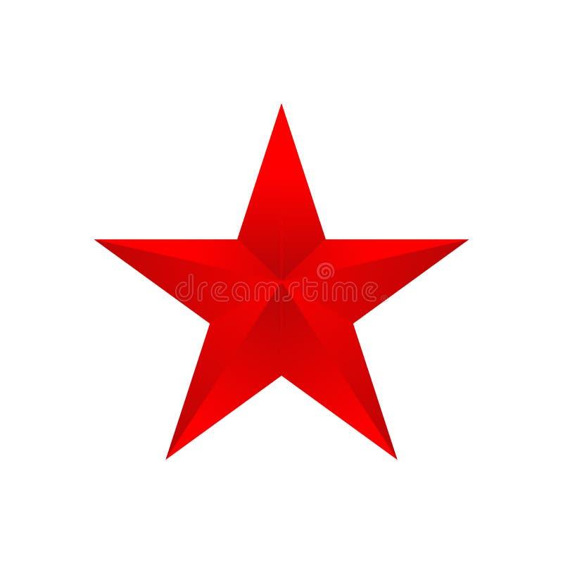Roter Stern auf einem weißen Hintergrund, Vektorillustration lizenzfreie abbildung