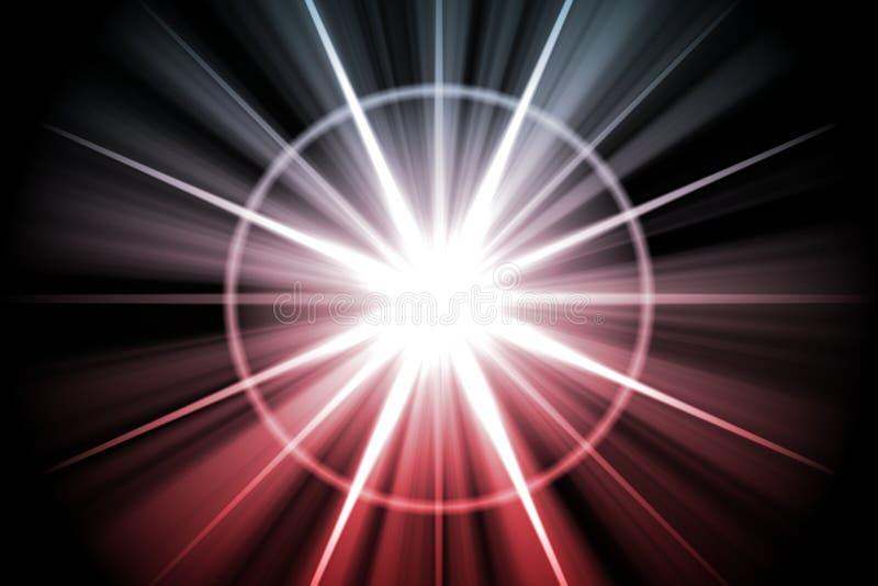 Roter Stern-Sonnendurchbruch-Auszug stock abbildung
