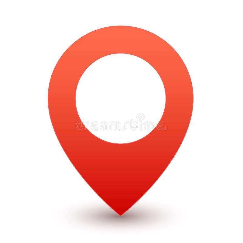 Roter Stift Gps Kartenmarkierungs- oder -reisesymbolvektorikone auf weißem Hintergrund stock abbildung