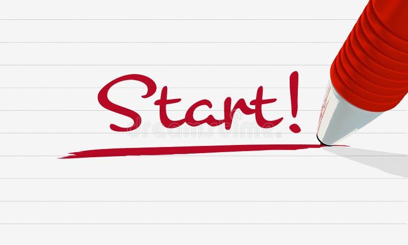 Roter Stift schreibt Anfang auf gezeichnetes Blatt Papier, mit Unterstreichung stockfoto