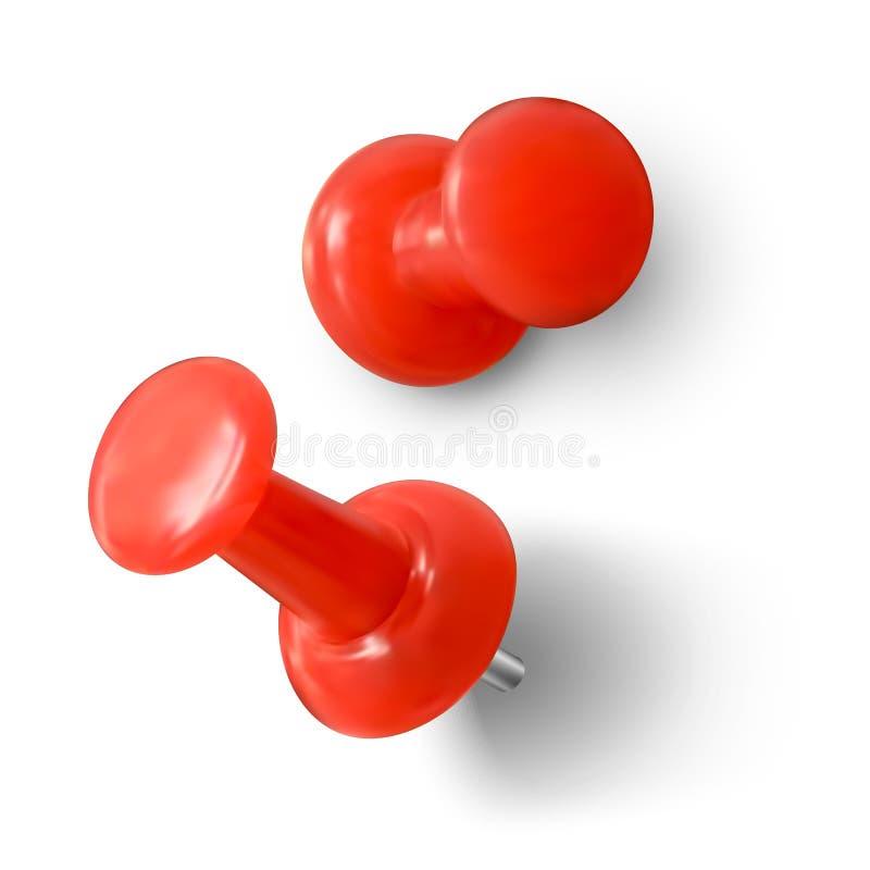 Roter Sto?stift Realistische rote Papierklammer Vektorabbildung getrennt auf wei?em Hintergrund stock abbildung