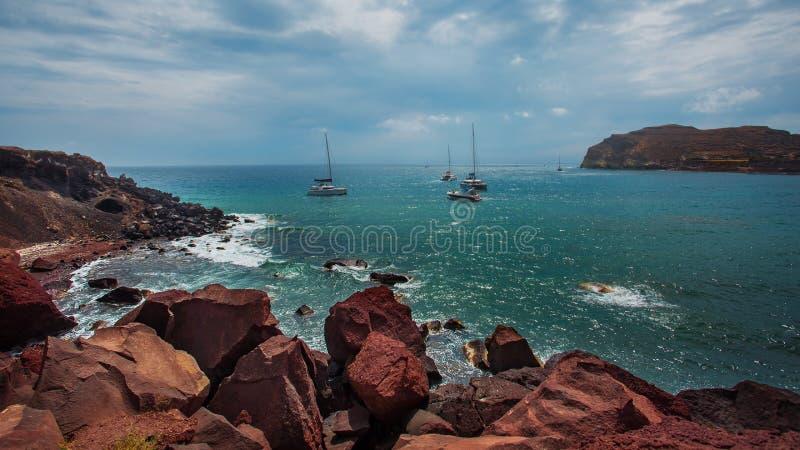 Roter Strand, Santorini Die Kykladen, geologisch stockfoto