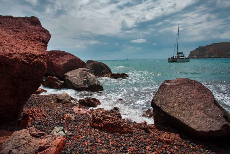 Roter Strand, Santorini Die Kykladen, geologisch stockfotografie