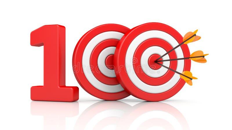 Roter Streifen visiert mit Pfeilform die rote Nr. 100 an Genaue Schussmetaphern lizenzfreie abbildung