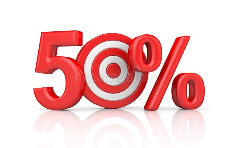 Roter Streifen visiert mit Pfeilform die rote Zahl 50 Prozent an Genaue Schussmetaphern vektor abbildung
