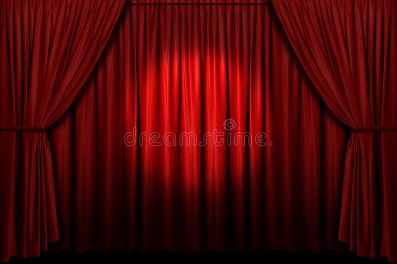 Roter Stufe-Trennvorhang mit Scheinwerfer lizenzfreie stockfotos