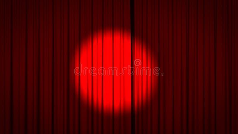 Roter Stufe-Trennvorhang mit Scheinwerfer lizenzfreies stockfoto