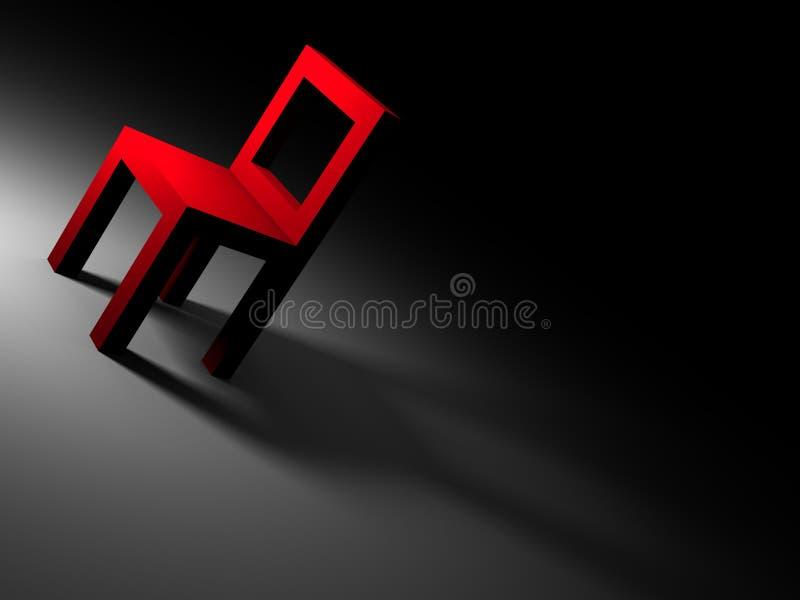 Roter Stuhl im dunklen Raum lizenzfreie abbildung