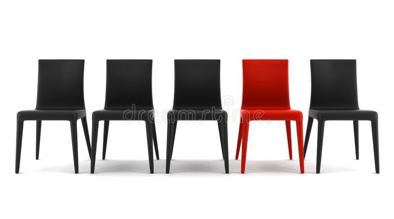 Roter Stuhl unter den schwarzen Stühlen getrennt auf Weiß stockfotos