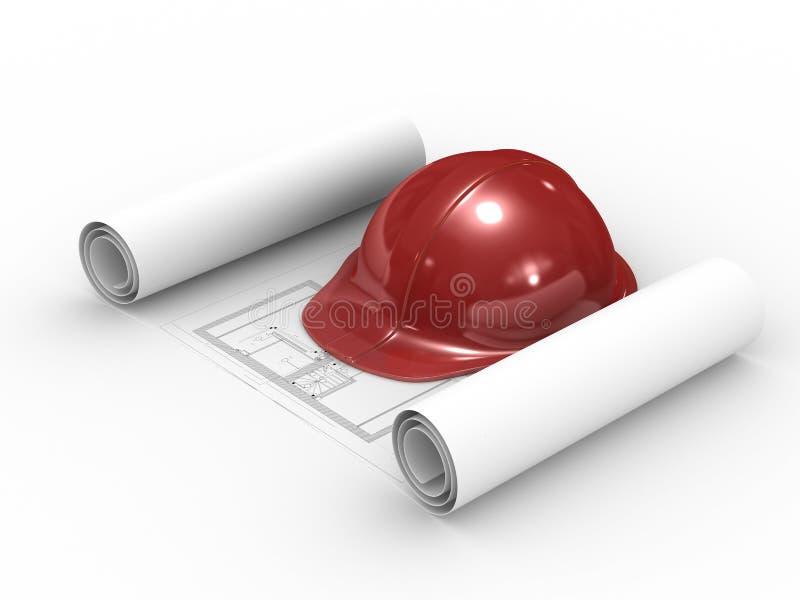 Roter Sturzhelm und Projekt auf weißem Hintergrund stock abbildung
