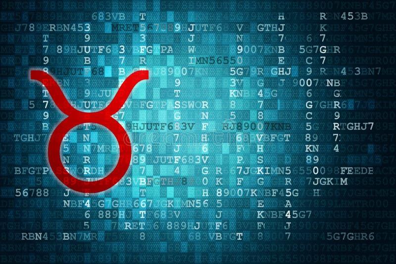 Roter Taurus Zodiac Sign auf blauem digitalem Hintergrund Kopieren Sie Platz stock abbildung