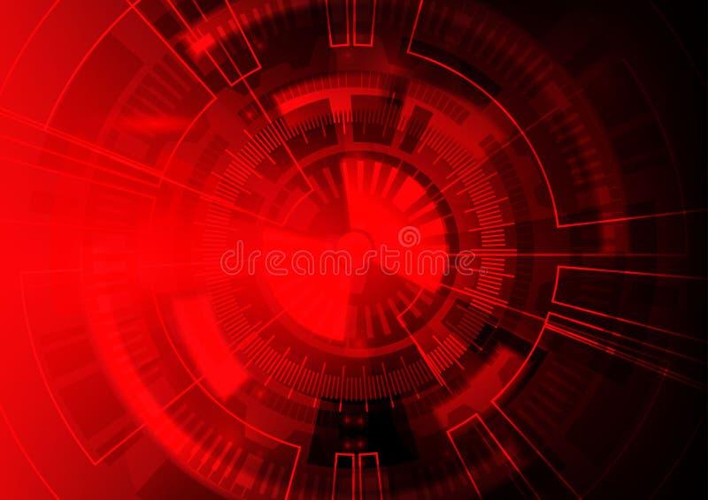 Roter Technologiehintergrund, abstrakter digitaler Technologiekreis lizenzfreie abbildung