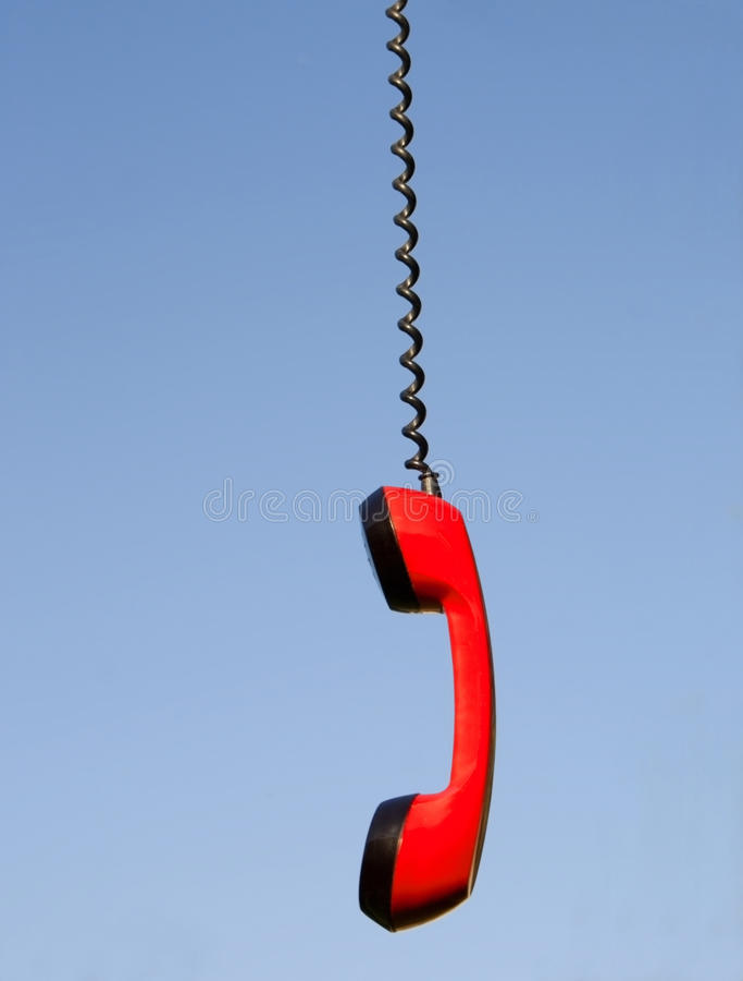 Roter Telefonhörer stockbild