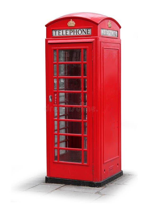 Roter Telefonstand in London Großbritannien stockbild