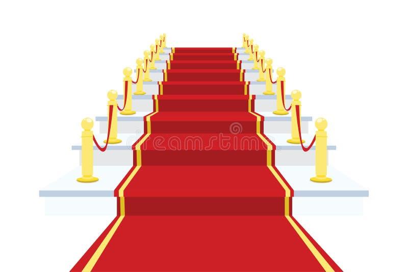 Roter Teppich auf Treppenhaus-Vektor-Illustration lizenzfreie abbildung