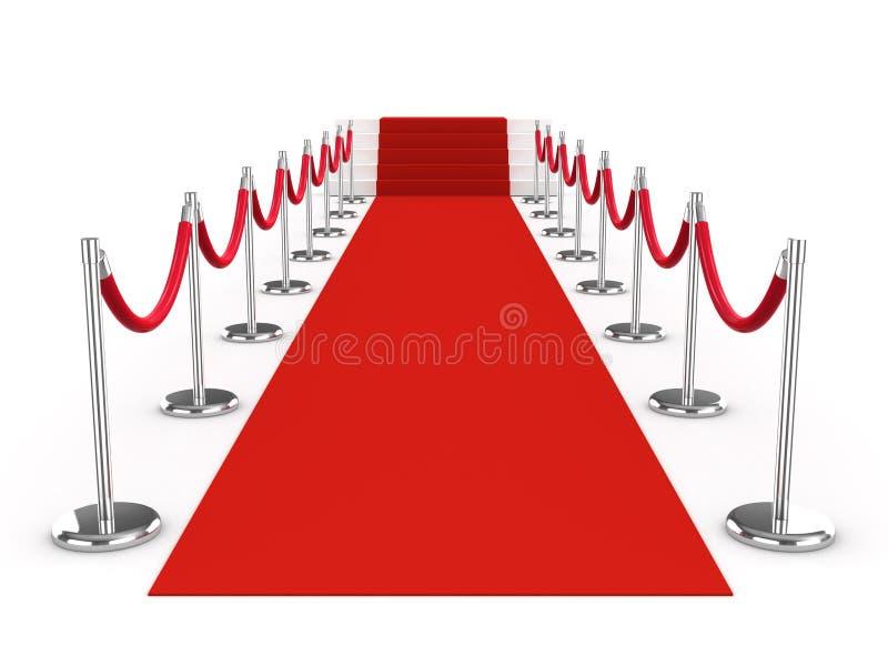 roter Teppich 3d und Samtfesseln lizenzfreie abbildung