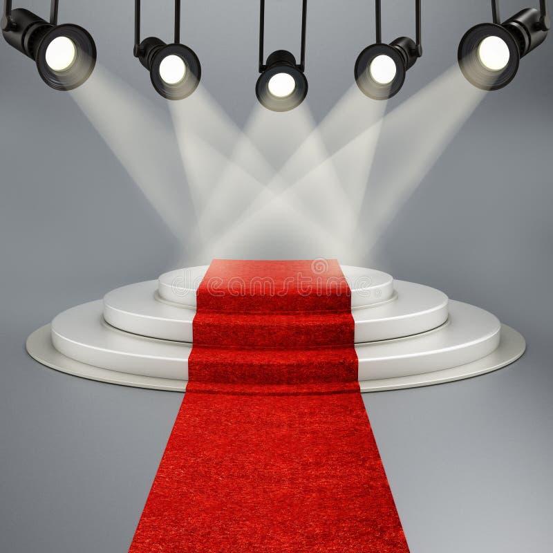 Roter Teppich, der zu das Stadium belichtet durch Scheinwerfer führt stock abbildung