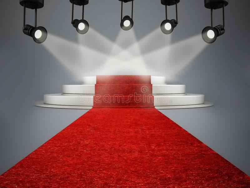 Roter Teppich, der zu das Stadium belichtet durch Scheinwerfer führt lizenzfreie abbildung