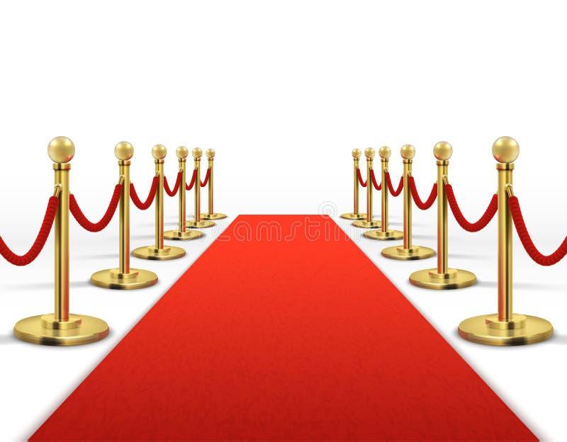 Roter Teppich für Promi mit Goldseilsperre Erfolgs-, Prestige- und Hollywood-Ereignis vector Konzept lizenzfreie abbildung