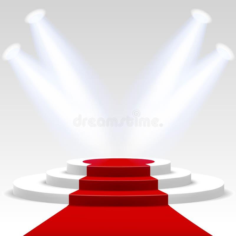 Roter Teppich mit Leiter vektor abbildung