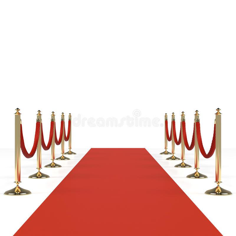 Roter Teppich mit roten Seilen stock abbildung