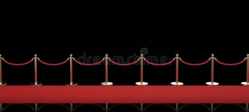 Roter Teppich mit Seilsperre auf schwarzem Hintergrund stockfotos