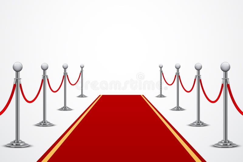 Roter Teppich mit Zaun, isometrischer Hintergrund vektor abbildung