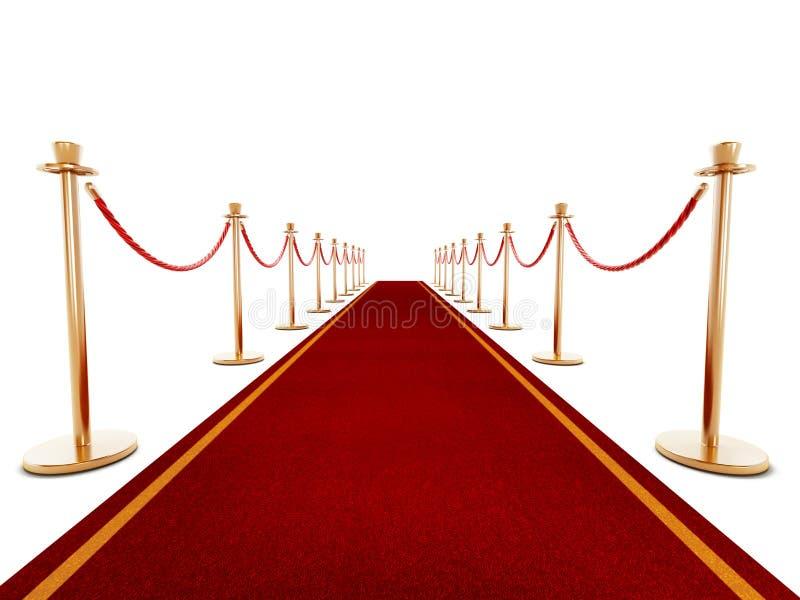 Roter Teppich und Samtfesseln lizenzfreie abbildung