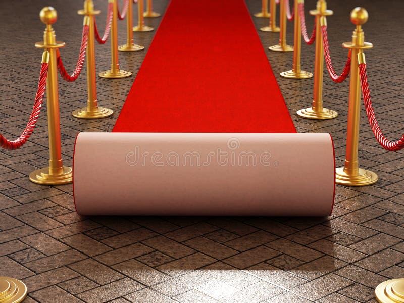 Roter Teppich und Samtfesseln auf Galaabendhintergrund Abbildung 3D stock abbildung