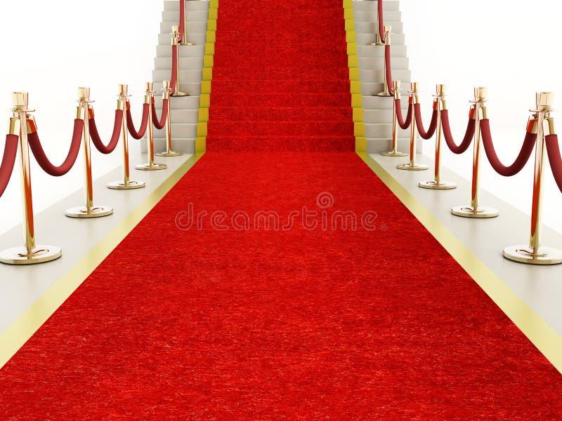 Roter Teppich und Samtfesseln, die zu das Treppenhaus führen stock abbildung