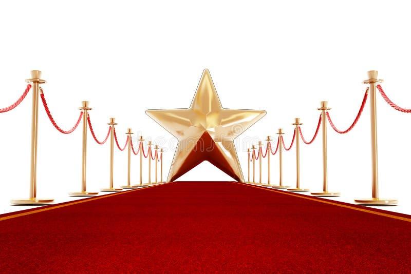 Roter Teppich und Samtfesseln mit einem goldenen Stern vektor abbildung