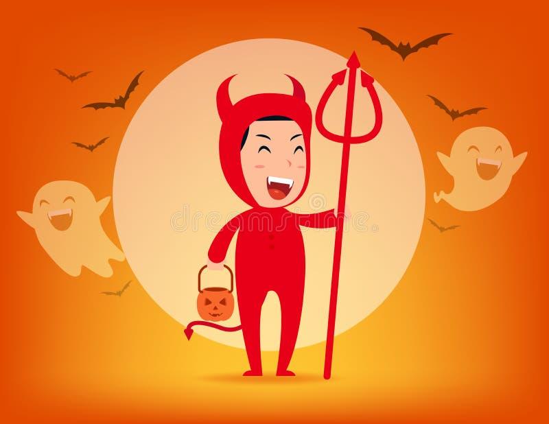 Roter Teufel Halloween-Kostümkonzept, Cute roter Dämon, Kid zu Halloween-Feiern lizenzfreie abbildung