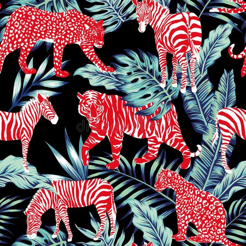 Roter tierischer blauer Dschungel stock abbildung