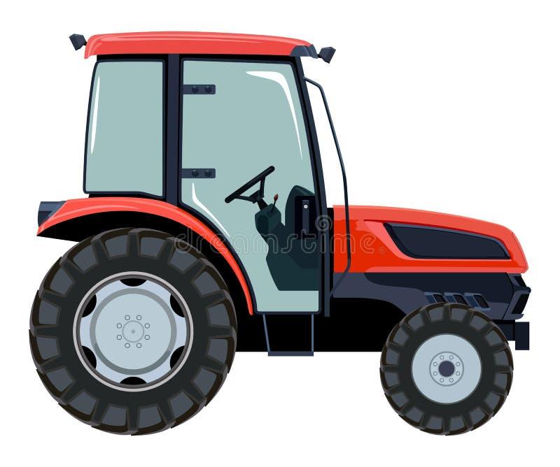 Roter Traktor eine Seite stock abbildung