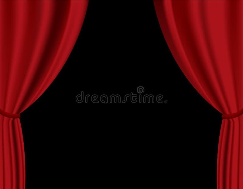 Roter Trennvorhang im Theater. vektor abbildung