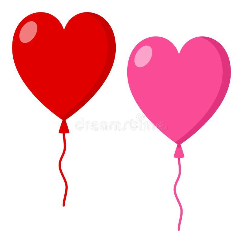 Roter u. rosa Herz-Ballon-flache Ikone auf Weiß lizenzfreie abbildung