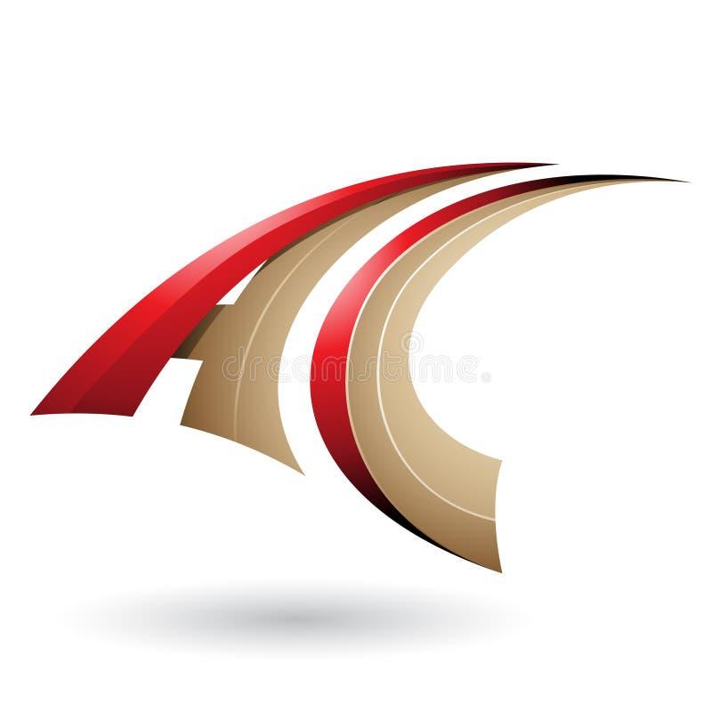 Roter und beige dynamischer fliegender Buchstabe A und C lokalisiert auf einem weißen Hintergrund stock abbildung