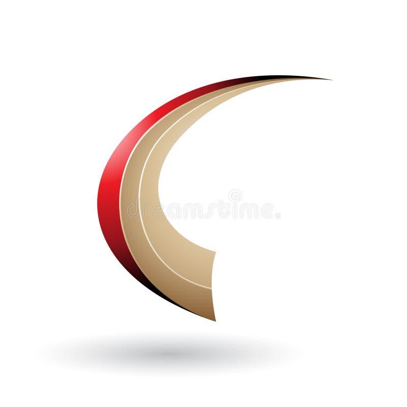 Roter und beige dynamischer fliegender Buchstabe C lokalisierte auf einem weißen Hintergrund stock abbildung
